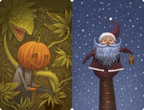 """Dixit: """"Pumpkinhead"""" and """"Santa"""" promo cards"""