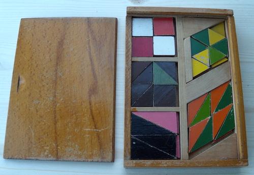 Houten Tangram-achtige Puzzels