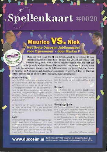 Spellenkaart #0020: Maurice VS. Niek