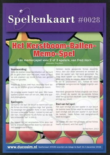 Spellenkaart #0028: Het Kerstboom-Ballen-Memo-Spel